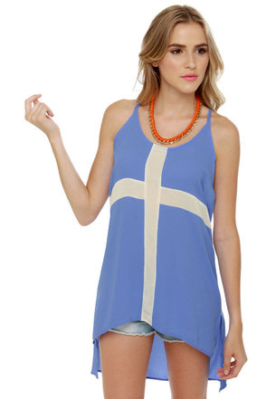 Crux of the Matter Blue Tunic Top