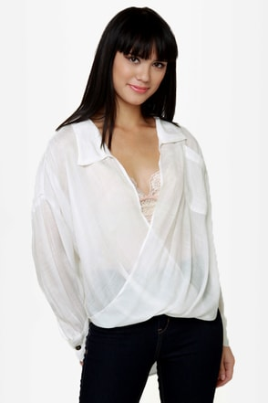Lucy Love Jamison Sheer White Top