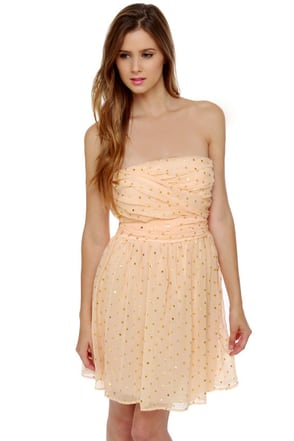 Golden Apples of the Sun Strapless Peach Dress