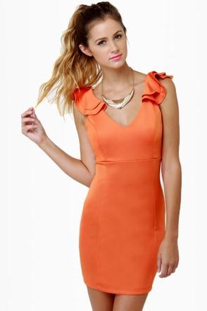 Frillseeker Orange Dress