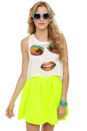 Face It Print Crop Top