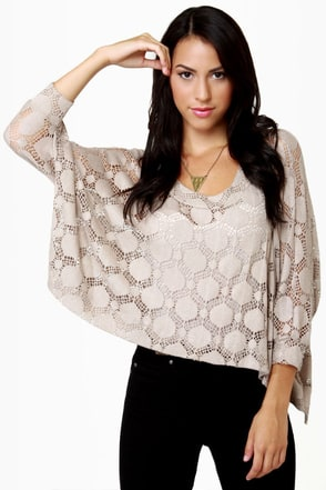 O\\\'Doily Rules! Taupe Sweater Top