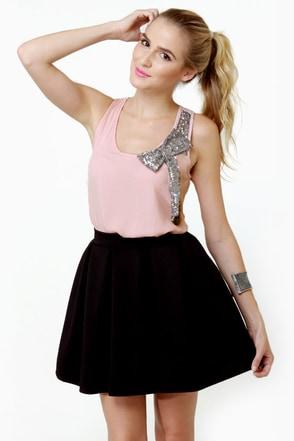 Side of Sequins Pink Tank Top