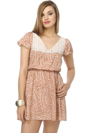 Peach Smoothie Floral Dress