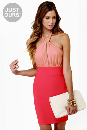 A-List Twist Coral Red Dress