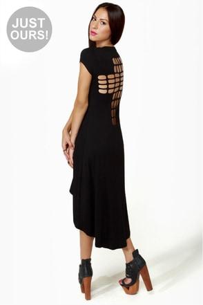 LULUS Exclusive Cross to Bare Black Midi Dress