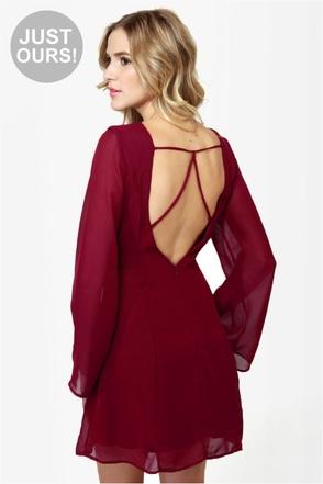 Back in a Flash Burgundy Dress