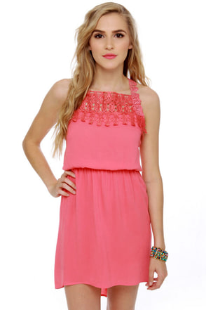 Away We Go Coral Lace Dress
