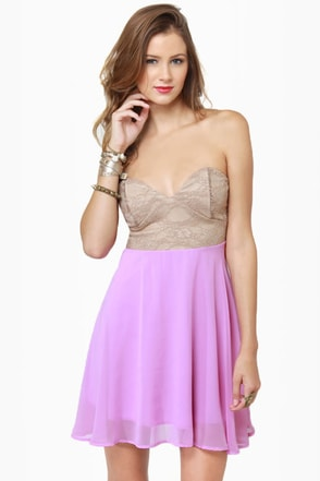 Ta-ra-ra Bustier! Taupe and Lavender Dress