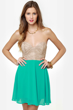 Ta-ra-ra Bustier! Taupe and Turquoise Dress