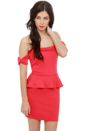 Valley Girl Off-the-Shoulder Coral Red Dress