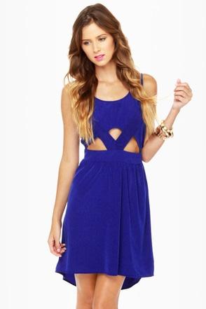Catch the Wind Blue Cutout Dress