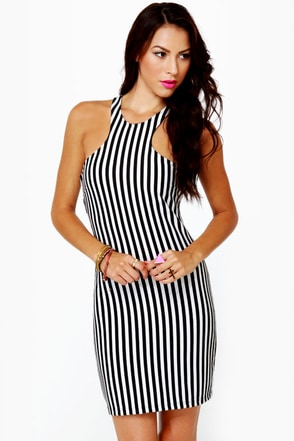 At the Races Black and White Striped Dress