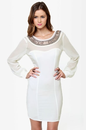 Place Your Bets Beaded Ivory Dress