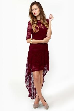 Cute Lace Dress Burgundy Dress High Low Dress 40 00