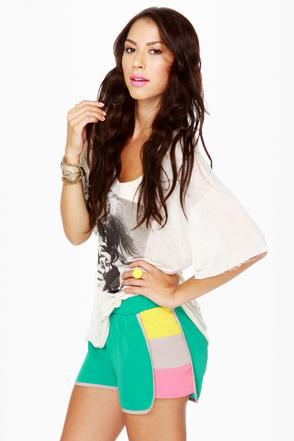 Cute Color Block Shorts Teal Shorts 26 50