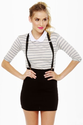 Dream of the \'90s Black Suspender Skirt