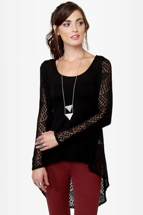 In Rotation Black Lace Top