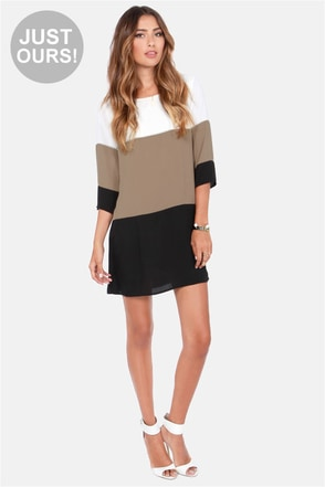 LULUS Exclusive Citrus Grove Taupe Color Block Shift Dress at Lulus.com!