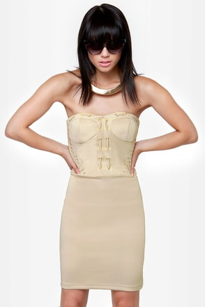 First Place Laced Strapless Beige Dress