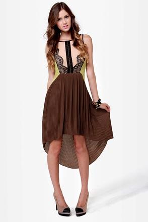 Charleston Charmer Brown Color Block Dress