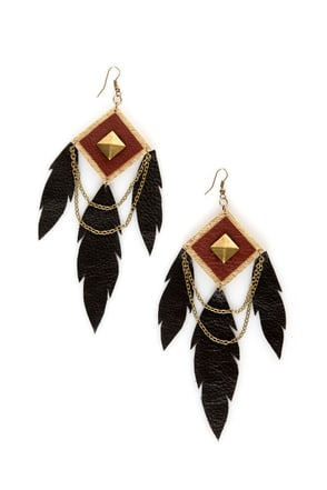 Claire Fong Trifecta Brown and Black Leather Earrings