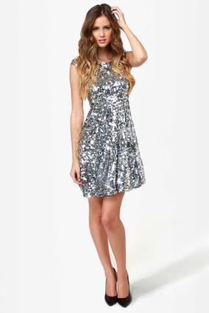 News Flash Silver Sequin Dress