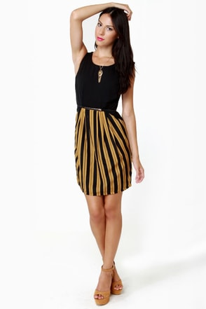 Darling Serena Black and Gold Striped Dress