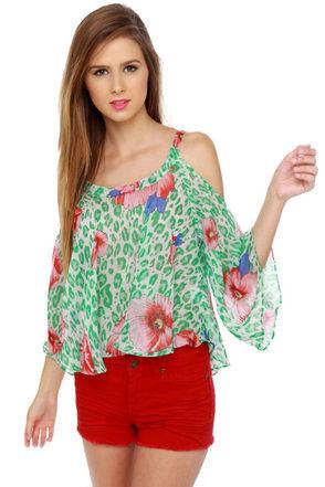 Mahalo Mama Green Floral Print Top