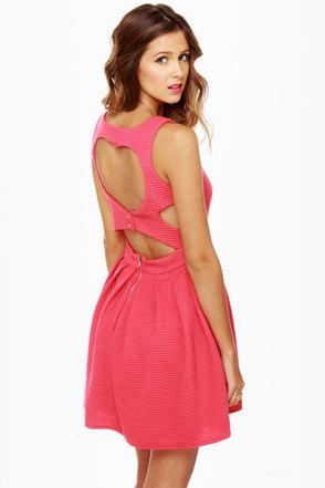 Heart-ware Store Cutout Coral Pink Dress