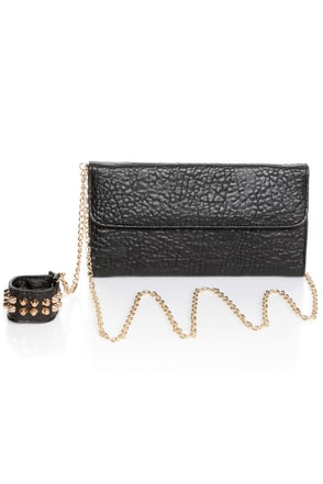 Just Can't Lose Studded Black Clutch