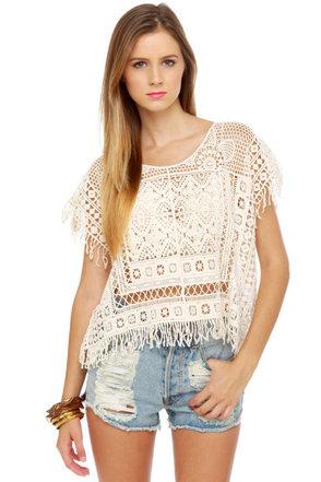 Black Sheep Hopi Ivory Crochet Top