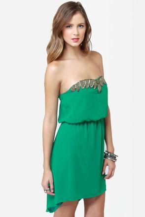 Human Nature Strapless Green Dress
