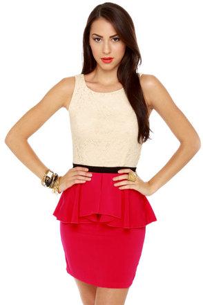 Scene It Red Color Block Dress