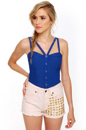 Win Win Situation Blue Bustier Top