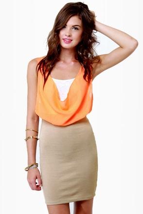Triple Threat Orange and Taupe Dress