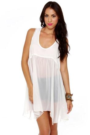 Softly Sweetly Sheer White Babydoll Dress