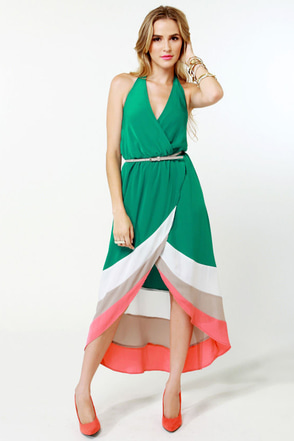 Border Up Green High-Low Halter Dress