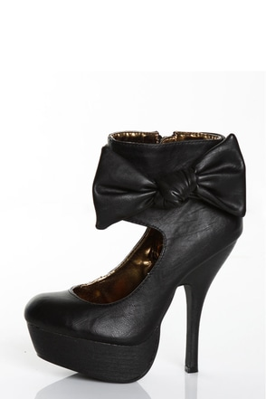 Miss Me Perch 12 Black Side Show Platform Heel Booties