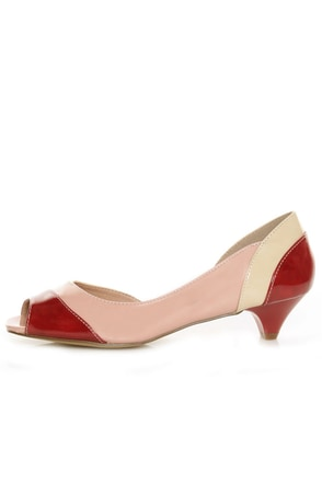unRestricted Wonder Red Color Block Patent Kitten Heels