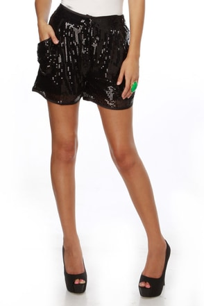 Tinseltown Sequin Black Shorts