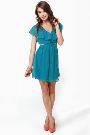 Ruffle, Shuffle, and Roll Teal Blue Dress
