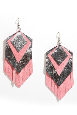 Claire Fong Parton Silver and Pink Fringe Earrings
