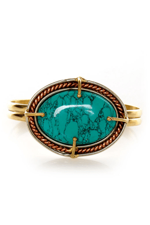 Stone Fox Turquoise and Gold Clutch Bracelet