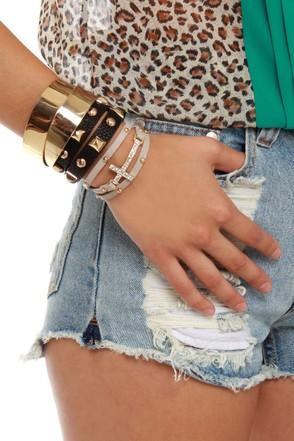 Cross the Pond Leather Wrap Bracelet
