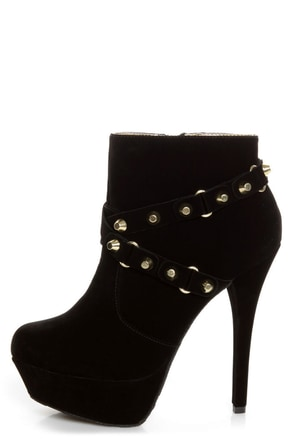 Dollhouse Slammin Black Strapped and Studded Platform Booties