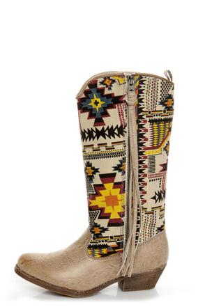 Big Buddha Wayne Natural Multi Southwest Print Cowboy Boots