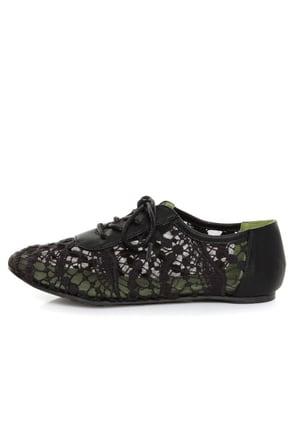 Blowfish Neat Black Crochet Oxford Flats