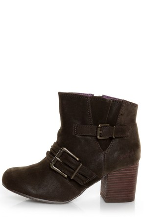 Blowfish Tarta Dark Brown Belted Ankle Boots