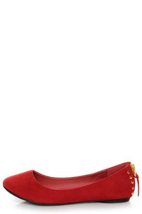 Doby 6 Red Studded Heel Zipper Ballet Flats